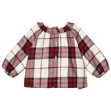 Burberry Red and White Karla Check Frill Shirt