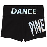 Pineapple Black Holographic Branded Dance Shorts