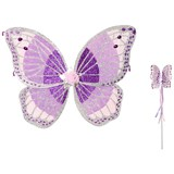 Travis Purple Glitters Fairy Wing and Wand Set