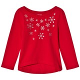 Lands' End Red Embellished Snowflakes Knit Long Sleeve Tee