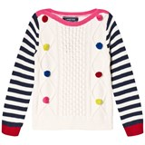 Lands' End Cream Stripe and Rainbow Bobble Cable Sweater