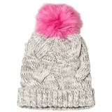 Lands' End Grey Cable Knit Beanie With Fluffy Bobble