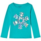 Lands' End Blue Snowflake Sequin Long Sleeve Tee