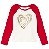 Lands' End White Glitter Heart Red Sleeve Tee