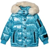 Diadora Pale Blue Glitter Welland Piumino Corto Nylon Hooded Jacket