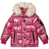 Diadora Pink Glitter Welland Piumino Corto Nylon Hooded Jacket