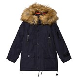 Diadora Night Blue Sanford Hooded Fur Lungo Nylon Parka Hooded Jacket
