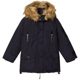 Diadora Night Blue Queen Bess Parka Lungo Nylon Hooded Jacket
