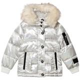 Diadora White Welland Glitter Piumino Corto Nylon Hooded Jacket