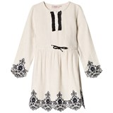 Noa Noa Miniature White with Black Detail Knee Length Silver Lining Dress