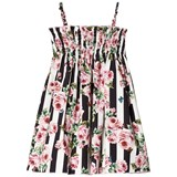 Dolce & Gabbana Black and White Stripe and Floral Sun Dress