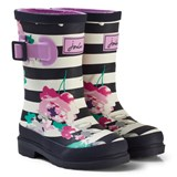 Joules Navy Stripe and Floral Print Girls Wellies