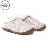 Toms Pink and Blue Metallic Woven Slippers