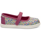 Toms Fuchsia Floral Canvas Ballet Pumps
