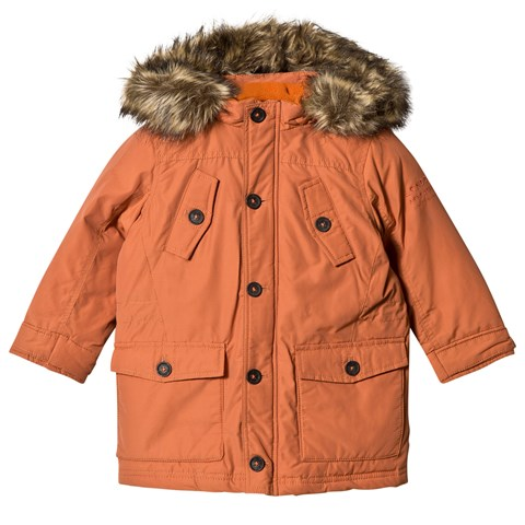 Pepe Jeans Orange Down and Cotton Fill Parka with Detachable Hood ... c6e1888f3