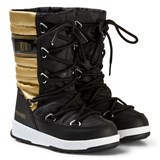 Moon Boot Mb We Quilted Jr Met Wp Black-Gold