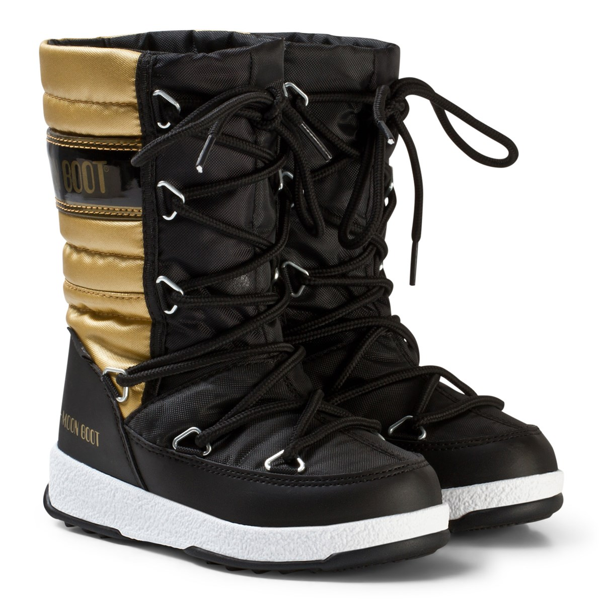 c117651bc992 Moon Boot Moon Boot Quilted Black and Gold Snow Boot