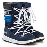 Moon Boot Quilted Navy and Silver Snow Boot