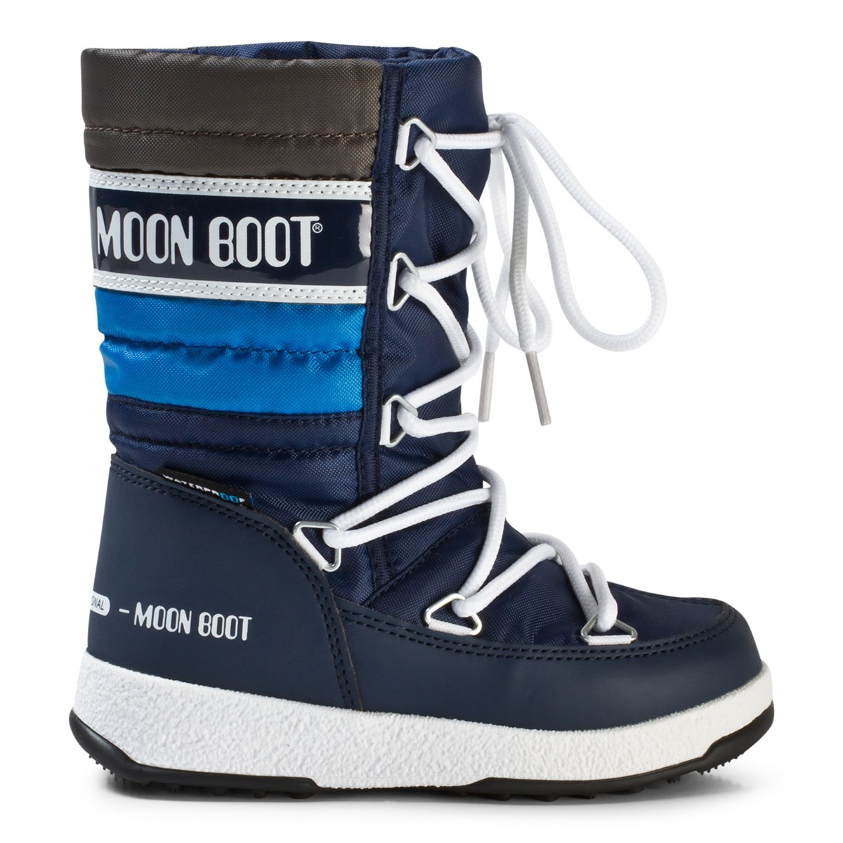 b7582d4a1 Moon Boot Quilted Navy and Silver Snow Boot | AlexandAlexa