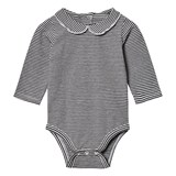 Gray Label Baby Onesie with Collar Nearly Black/Off White Stripe