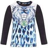 Roberto Cavalli Navy And White Animal Print Tee