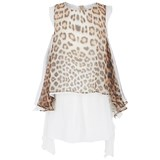 Roberto Cavalli Leopard Print Waterfall Silk Dress