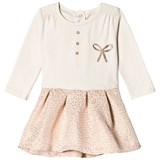 Absorba Cream Glitter Bow Jersey Dress
