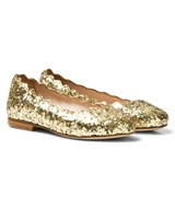 Chloé Gold Glitter Leather Ballerina Pumps