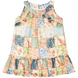 Mayoral Multi Floral Patchwork Frill Drop Waist Dress