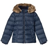 Tommy Hilfiger Navy Faux Fur Lined Hood Padded Jacket