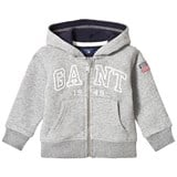 Gant Grey Embroidered Full Zip Hoody