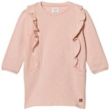 Carrément Beau Pink Spot Sweat Dress with Frill Front