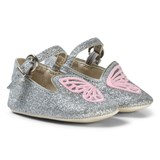 Sophia Webster Mini Silver Glitter and Pink Bibi Butterfly Baby Shoes