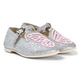 Sophia Webster Mini Silver Glitter and Pink Bibi Butterfly Mini Shoes