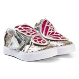 Sophia Webster Mini Gold Glitter and Fuchsia Bibi Low Top Mini Trainers
