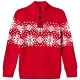 Lands' End Red Snowflake Pattern Button Neck Sweater