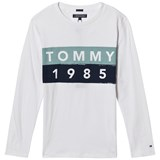 Tommy Hilfiger White and Blue Branded Long Sleeve Tee