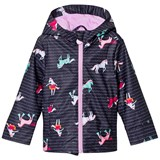 Joules Navy Stripe and Horse Print Rubber Raincoat