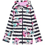 Joules Navy Stripe and Floral Rubber Raincoat