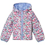 Joules Pink Floral Pack Away Quilted Coat