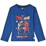 Joules Blue Bear Vs Wolf Print Long Sleeve Tee