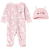 Joules Pink Bunny Print Babygrow and Hat Set