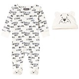 Joules White Lions Tigers and Bears Print Babygrow and Hat Set