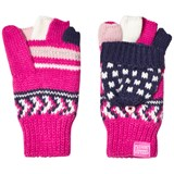 Joules Pink and Navy Fairisle Knit Glittens