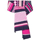 Joules Pink and Navy Fair Isle Knit Scarf