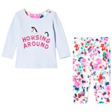 Joules Pale Blue Glitter Horse Print Tee and Floral Leggings Set