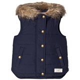 Joules Navy Padded Gilet with Faux Fur Hood