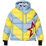 Perfect Moment Pale Blue and Yellow Super Mojo Ski Hooded Jacket