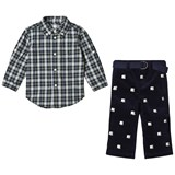 Ralph Lauren Navy Check Shirt and Polar Bear Embroidered Trousers Set