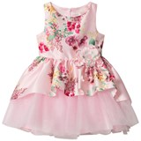 David Charles Pink Floral Print and Jewel Corsage Dress